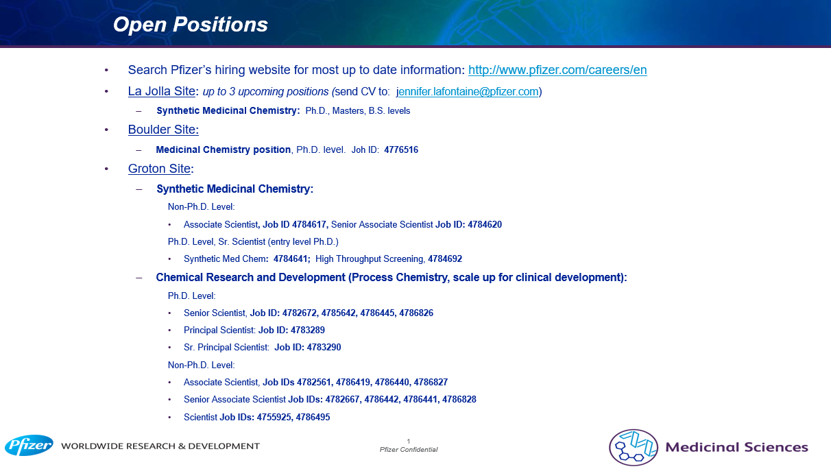 Pfizer job postings