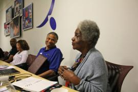 In late 2019, Stanford Libraries organized two community events that brought some of Silicon Valley's Black pioneers together for an afternoon of storytelling. Attendees included San Jose community organizer Queen Ann Cannon, pictured here talking with Carl Davis Jr., president of the Black Silicon Valley Chamber of Commerce. In the background is the entrepreneur Danny Allen and Janie Jensen. The event was recorded for the archive. (Image credit: Chris Cotton)