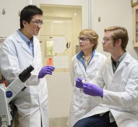 Postdoctoral researcher Han Xiao, Professor Carolyn Bertozzi and graduate student Elliot Woods discuss methods to make cancer cells visible to the immune system. (Linda A. Cicero, Stanford News Service)