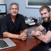 Benjamin Snyder (right) and his former PhD adviser, Edward Solomon, a professor of chemistry at Stanford and of photon science at SLAC. (Image credit: Linda A. Cicero)